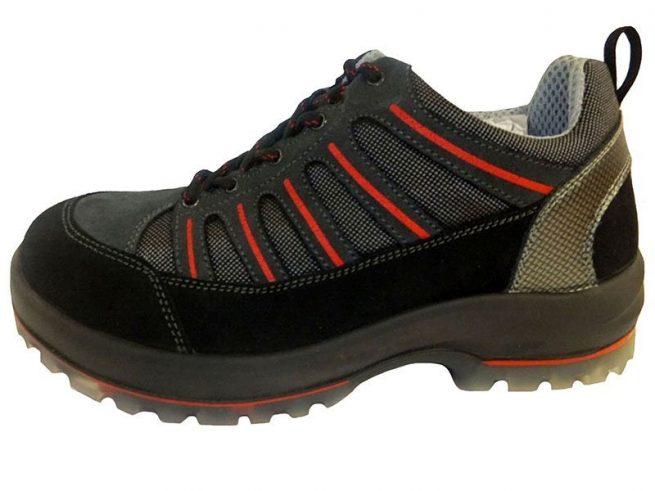 Zapato seguridad laboral Antiprenetración Gris / negro / rojo 269T Calidad Extrema Puntera de aluminio Plantilla antiestática Entresuela de KEVLAR (Antipenetración) Material piel con cordura Certificación CE S1 +P